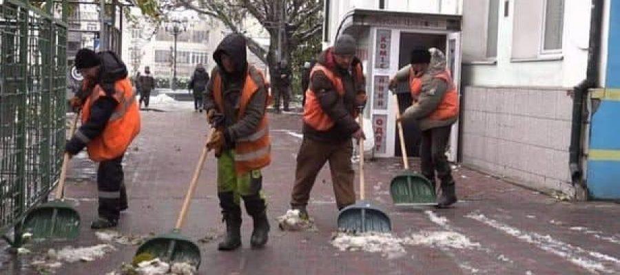 ניכוי השלג במקומות ציבוריים באומן